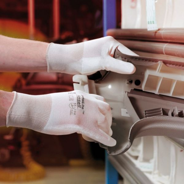 Ansell- HYFLEX® 48-100 Beyaz Tam Kaplı Sensilite Poliüretan Kaplı Hassas İş Eldiveni (Çift-6)