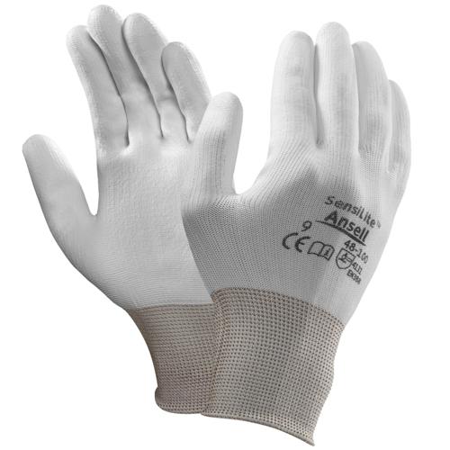 Ansell- HYFLEX® 48-100 BEYAZ TAM KAPLI Sensilite Poliüretan Kaplı Hassas İş Eldiveni - Thumbnail