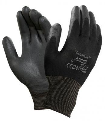 Ansell- HYFLEX® 48-101 Siyah-Gri Tam Kaplı Sensilite Poliüretan Kaplı Hassas İş Eldiveni (Çift-11)