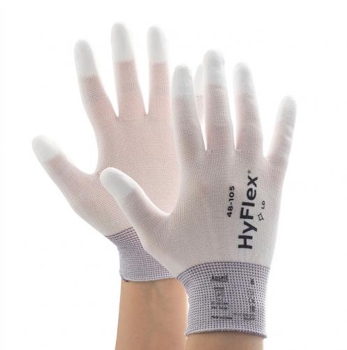 Ansell- HYFLEX® 48-105 Beyaz Parmak Uçları Kaplı Sensilite Poliüretan Kaplı Hassas İş Eldiveni (Çift-10) - Thumbnail