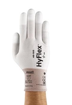 Ansell- HYFLEX® 48-105 Beyaz Parmak Uçları Kaplı Sensilite Poliüretan Kaplı Hassas İş Eldiveni (Çift-10)