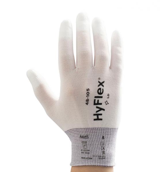 Ansell- HYFLEX® 48-105 BEYAZ PARMAK UÇLARI KAPLI Sensilite Poliüretan Kaplı Hassas İş Eldiveni