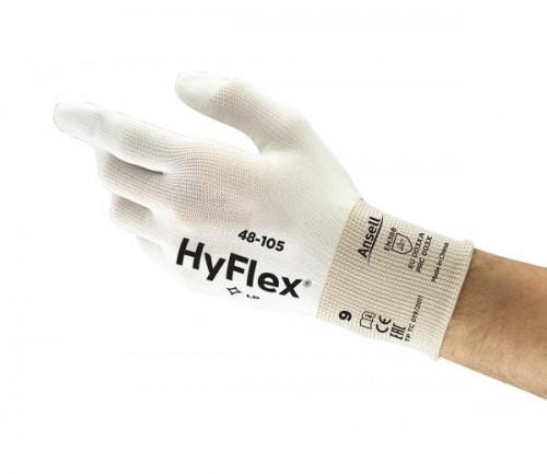 Ansell- - Ansell- HYFLEX® 48-105 Beyaz Parmak Uçları Kaplı Sensilite Poliüretan Kaplı Hassas İş Eldiveni (Çift-9)