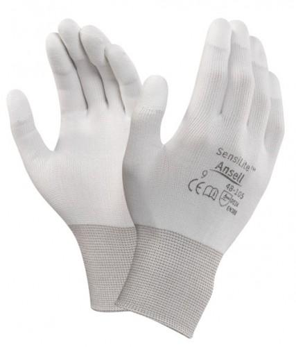 Ansell- HYFLEX® 48-105 Beyaz Parmak Uçları Kaplı Sensilite Poliüretan Kaplı Hassas İş Eldiveni (Çift-9) - Thumbnail