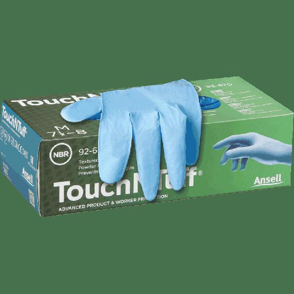 Ansell- TouchNTuff® 92-670 Tek Kullanımlık Pudrasız Endüstriyel Ağır İş Eldiveni (L) 100lü Paket