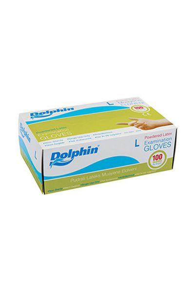 Dolphin Beyaz Lateks Pudralı Eldiven (L) 100lü Paket