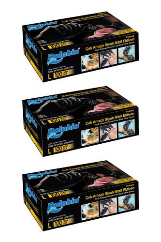Dolphin - Dolphin Çok Amaçlı Siyah Nitril Eldiven (L) 100lü Paket 3 Adet (Gıdaya Uygun)