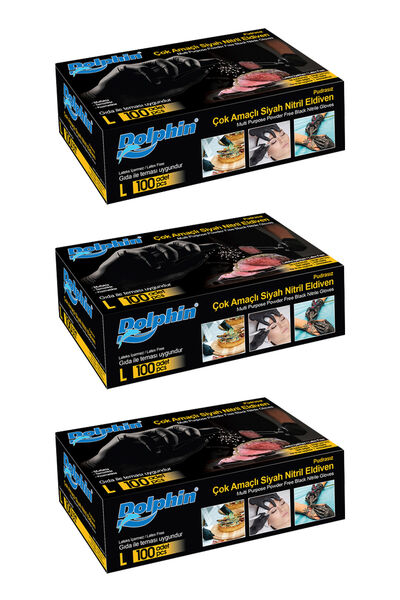 Dolphin Çok Amaçlı Siyah Nitril Eldiven (L) 100lü Paket 3 Adet (Gıdaya Uygun)