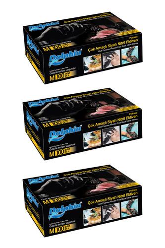 Dolphin - Dolphin Çok Amaçlı Siyah Nitril Eldiven (M) 100lü Paket 3 Adet (Gıdaya Uygun)