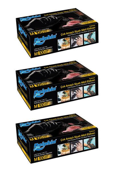 Dolphin Çok Amaçlı Siyah Nitril Eldiven (M) 100lü Paket 3 Adet (Gıdaya Uygun)