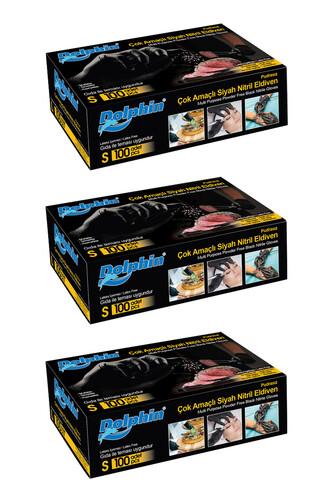 Dolphin - Dolphin Çok Amaçlı Siyah Nitril Eldiven (S) 100lü Paket 3 Adet (Gıdaya Uygun)