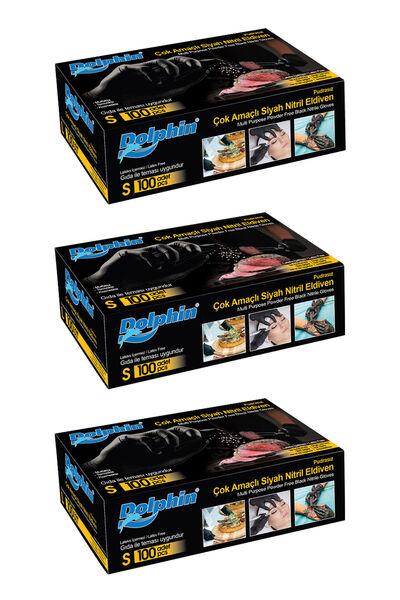 Dolphin Çok Amaçlı Siyah Nitril Eldiven (S) 100lü Paket 3 Adet (Gıdaya Uygun)