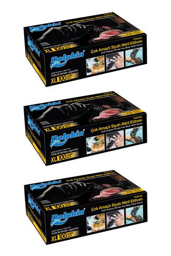 Dolphin - Dolphin Çok Amaçlı Siyah Nitril Eldiven (XL) 100lü Paket 3 Adet (Gıdaya Uygun)
