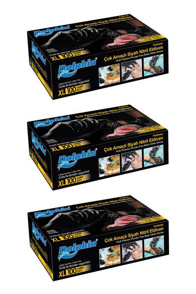 Dolphin Çok Amaçlı Siyah Nitril Eldiven (XL) 100lü Paket 3 Adet (Gıdaya Uygun)