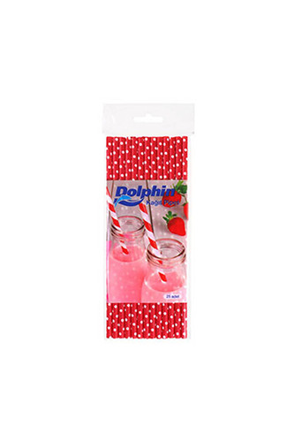 Dolphin - Dolphin Kağıt Pipet Beyaz Puantiyeli Kırmızı 20cm 25li