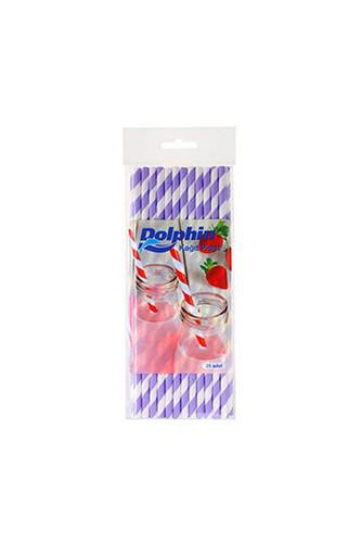 Dolphin - Dolphin Kağıt Pipet Lila Çizgili Beyaz 20cm 25li