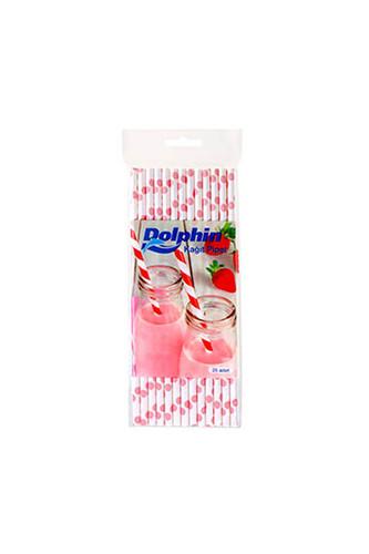 Dolphin - Dolphin Kağıt Pipet Pembe Puantiyeli Beyaz 20cm 25li