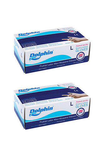 Dolphin - Dolphin Mavi Lateks Eldiven Pudralı (L) 100lü Paket 2 Adet