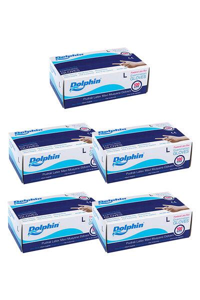 Dolphin Mavi Lateks Eldiven Pudralı (L) 100lü Paket 5 Adet