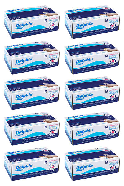 Dolphin Mavi Lateks Eldiven Pudralı (M) 100lü Paket 10 Adet