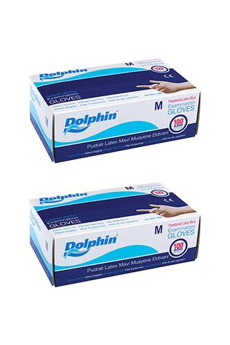 Dolphin - Dolphin Mavi Lateks Eldiven Pudralı (M) 100lü Paket 2 Adet