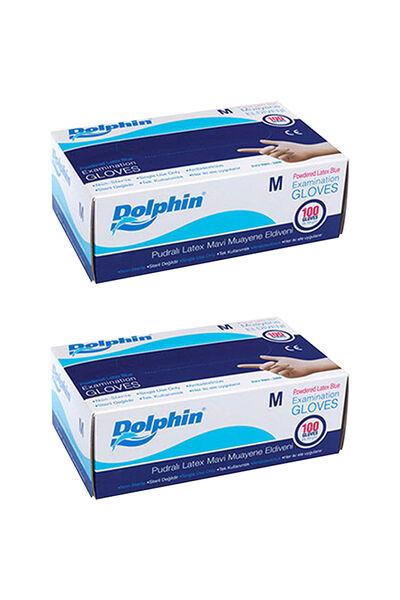 Dolphin Mavi Lateks Eldiven Pudralı (M) 100lü Paket 2 Adet