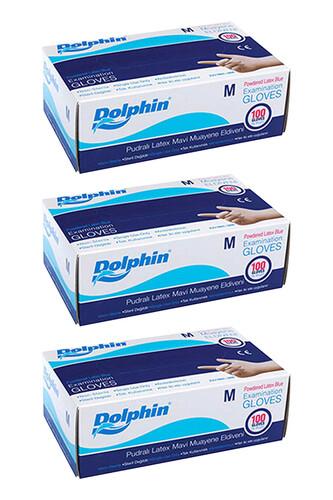 Dolphin - Dolphin Mavi Lateks Eldiven Pudralı (M) 100lü Paket 3 Adet