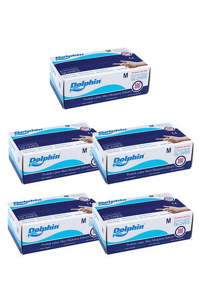 Dolphin Mavi Lateks Eldiven Pudralı (M) 100lü Paket 5 Adet