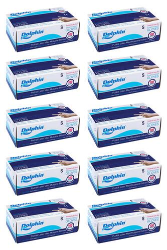 Dolphin - Dolphin Mavi Lateks Eldiven Pudralı (S) 100lü Paket 10 Adet