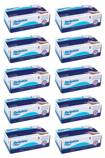 Dolphin Mavi Lateks Eldiven Pudralı (S) 100lü Paket 10 Adet