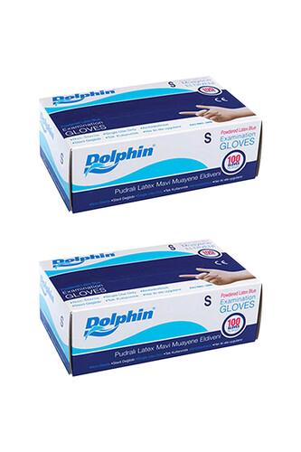 Dolphin - Dolphin Mavi Lateks Eldiven Pudralı (S) 100lü Paket 2 Adet