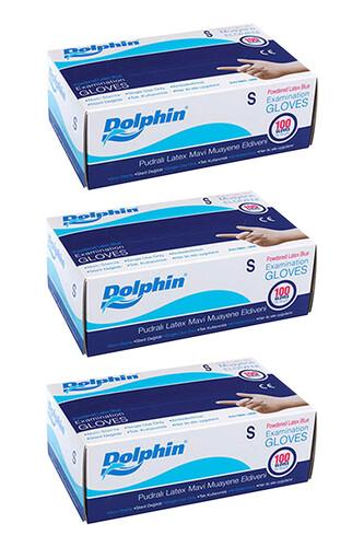 Dolphin - Dolphin Mavi Lateks Eldiven Pudralı (S) 100lü Paket 3 Adet