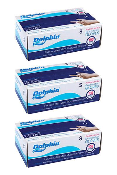 Dolphin Mavi Lateks Eldiven Pudralı (S) 100lü Paket 3 Adet