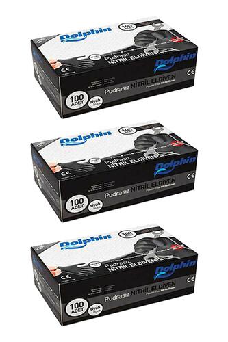 Dolphin - Dolphin Siyah Nitril Eldiven Pudrasız Ekstra Kalın (XL) 100lü Paket 3 Adet