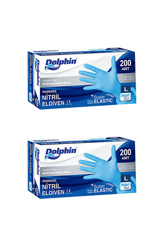 Dolphin - Dolphin Süper Elastik Mavi Nitril Eldiven Pudrasız (L) 200 lü Paket 2 Adet