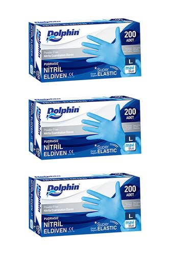 Dolphin - Dolphin Süper Elastik Mavi Nitril Eldiven Pudrasız (L) 200 lü Paket 3 Adet