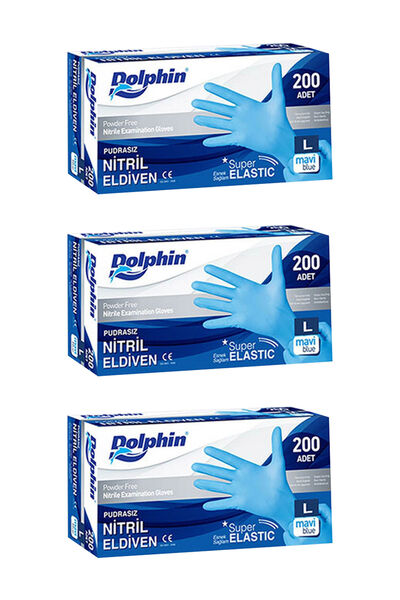 Dolphin Süper Elastik Mavi Nitril Eldiven Pudrasız (L) 200 lü Paket 3 Adet
