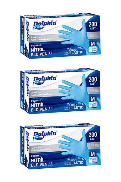 Dolphin Süper Elastik Mavi Nitril Eldiven Pudrasız (M) 200 lü Paket 3 Adet
