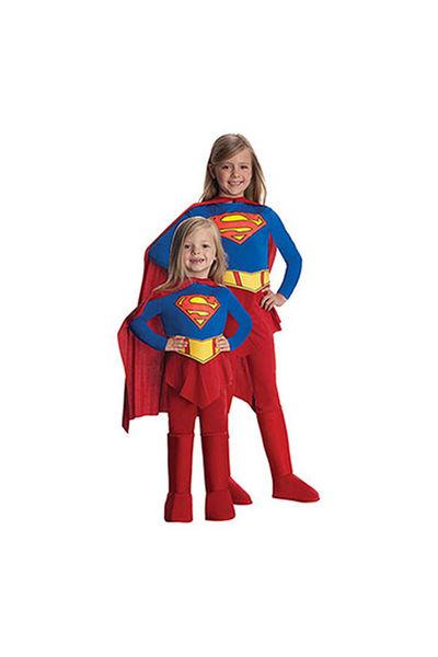 Super Girl Streç Kız Çocuk Kostümü 12-14 Yaş 1 Adet