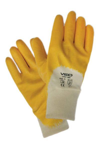 Veo 1002/9 Nitril Eldiven Yarım Kaplı Sarı Çift (Beden-9)